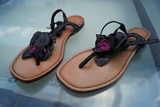 schicke ESPRIT Damen Sommer Schuhe Sandalen Zehentrenner Clogs Leder Gr.37 #3k