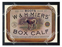 Historic W & H Miers Box Calf boot leather 1898 Advertising Postcard