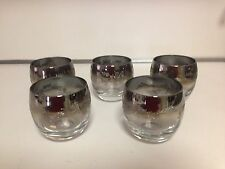 VINTAGE MID-CENTURY DOROTHY THORPE ROLY POLY GLASSES SILVER FADE- 5 TOTAL -