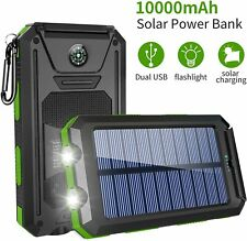 Solar Charger, Solar Power Bank 10000mAh Dual USB Input Portable Battery Cellpho