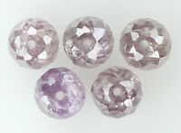 Natural Loose Diamond Round Bead Pink Color I3 Clarity 5 pcs 1.02 Ct N7998
