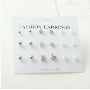 Wholesale A Set Of 12/20 Pairs Earrings Crystal Ear Studs Earrings Allergy Free