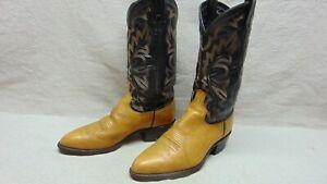 Dan Post USA Mens 8.5 EW Beige & Black Leather Round Toe Motorcycle Western Boot