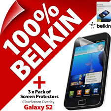 3X Belkin Clearscreen Protector de Pantalla para Samsung Galaxy S2 Sii