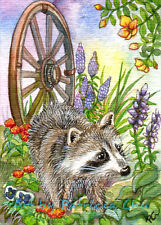 "ACEO Fine Art Print "" Raccoon By Flower Garden "" Wildlife Animal Art by Patricia"