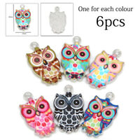 6pcs Mixed Color Owl Enamel Charms For DIY Necklace Jewelry Making Pendants HOT
