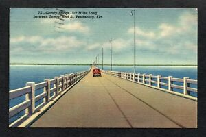 Gandy Bridge, Tampa-St. Petersburg, Florida, Linen Postcard, Posted, 1949