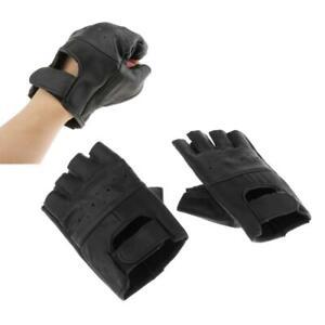 Mens Unlined Leather Gloves Fingerless Half Finger Gloves Biker Motorcycle