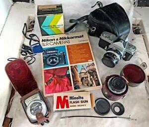 Vintage Nikon Nikkormat Film Camera FT 3516882 Accessories Lenses Flash Book