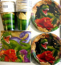 DINO BLAST ! DINOSAUR Birthday Party Supply Kit w/Plates,Napkins & Cups