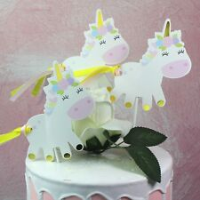 3pcs unicorn party cupcake topper cake picks birthday party baby shower decor HU