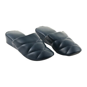 SLIPPERS Womens Blue Faux Leather Stitching House Slippers SIZE 6