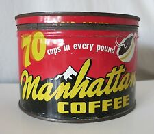 MANHATTAN COFFEE VINTAGE KEY-WIND TIN, GENERAL COFFEE CO., ST. LOUIS, MO.