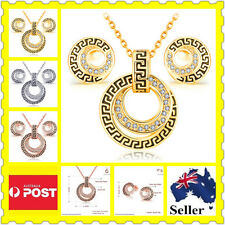 Crystal Gems Necklace Earring Ring Sets Valentine's Day Birthday Wedding Gift