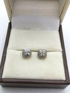 Genuine .925 Sterling Silver Diamond Earrings 0.10ct  2.3g