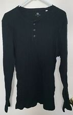 Mens Adriano Goldschmied Black Knit Henley Shirt Small Long Sleeve