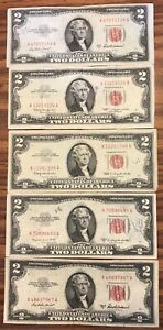 LOT OF 5 $2 RED SEAL UNITED STATES NOTES --  CIRCULATED LOT B