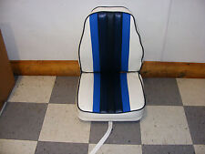 Highback Deluxe Fold-Down Seat (White w/ Blues)