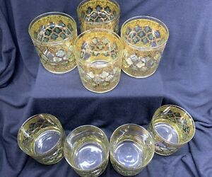 Set of 8 Vintage Culver Glass Lowball 8-Oz Tumblers 22-K Gold Valencia Pattern
