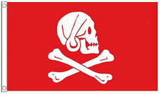 Pirate Jolly Roger Henry 'Long Ben' Avery (The Devon Pirate) Red 5'x3' Flag !