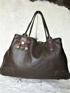 AUTH GUCCI princy GG Monogram Tote handbag Purse hobo bag leather gold READ