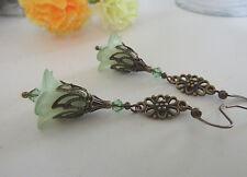 LUCITE FLOWER EARRINGS VINTAGE STYLE GREEN Peridot Swarovski Elements