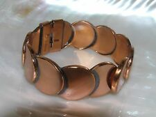 Vintage Renoir Signed Overlapping Solid Copper Circles Hinged Bangle Bracelet –