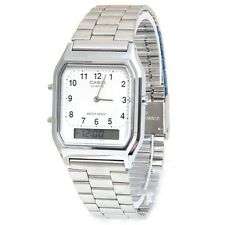 Casio AQ230A-7B Mens Stainless Steel Analog Digital Watch Dual Time Alarm NEW