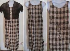 Beautiful DAWN JOY sz 7 8 brown floral checkered sleeveless jumper dress set j48