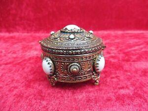 Très Belle Boîte avec Couvercle, Bronze Avec Perles, Haffke