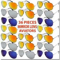 WHOLESALE AVIATOR SUNGLASSES MIRROR LENS 36 PIECE SET BULK LOT ALL NEW DEAL