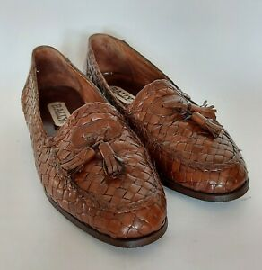 Mens BALLY Woven Brown Leather Loafer Slip On Shoes With Tassels EU 41.5 UK 7.5