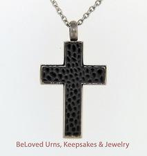 Pebble Texture Cross Cremation Jewelry Pendant Keepsake Urn w/ Necklace - Funnel