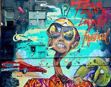 Banksy style fear & loathing  street art graffiti urban Framed Canvas Print