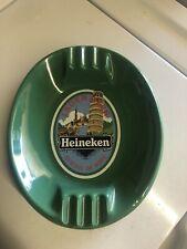 Vintage Heineken Lager Beer Green Ceramic Large Heavy Pub Ashtray England