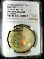 NGC PF68 Cook Island 2013 Prism Polar Bear $5 Super .999 Silver Coin POP 1