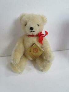 "Vintage HERMANN KG West Germany White Mohair Joited Teddy Bear 8"""