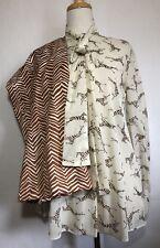 Vintage Keyloun 2 Piece Zebra print Top blouse & wide leg palazzo pants Size 8
