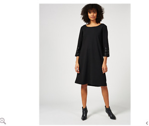 Ben de Lisi Scuba Jersey Shift Dress Sequin Cuff Detail Black Size 10 Brand New
