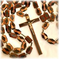 Rosary Wall Hanging Huge Wooden Christian Crucifix Cross Handmade VTG Italy 70""