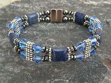 Women's Magnetic Bracelet Anklet Lapis Lazuli w Saphire Blue SWAROVSKI 2 Row