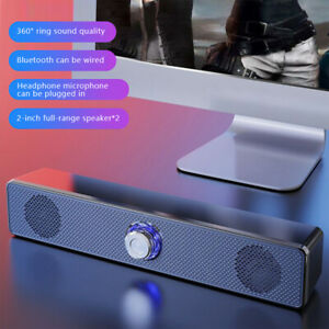 USB Bluetooth Computer Sound Bar Stereo Wired Speakers For PC Desktop Laptop TV