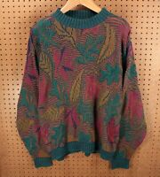 vtg 80s 90s usa made Crossings sweater XL tag abstract print cosby ugly