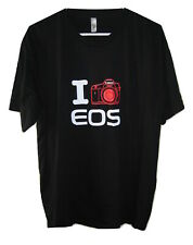 I Love EOS Canon Camera Short Sleeve Black T-Shirt Mens Cotton size 2XL/XXL
