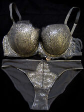 NWT Victoria's Secret Fashion Show Black Pearl Silver Foil Lace 36C Bra Set