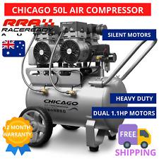 Chicago Air Compressor 50L HUSH50 Silent Motors Pressure Regulator Pump