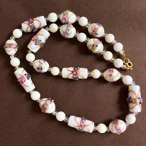 Vintage Venetian Murano White Wedding Cake Glass Necklace