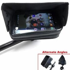 Handlebar Mounted Cell Phone GPS Case w/ Sun Visor Bobber Chopper Yamaha