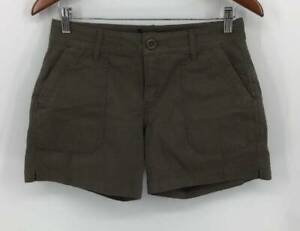PRANA Shorts 2 Olive Green Casual Flat Front Pockets Stretch Womens New 3698
