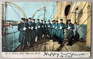 """United States Sailors Life """"Marines Drill"""", Jan 1 1908, New York To County Down"""